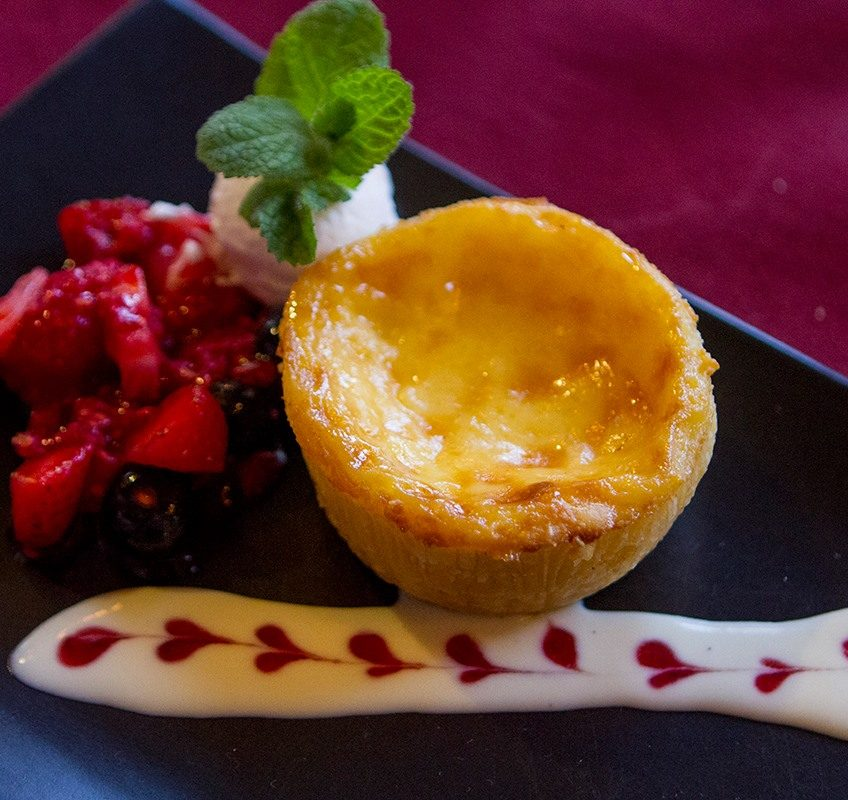 """""""Macanese"""" egg tart with berry compote"""