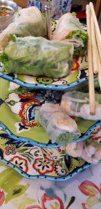 Thai Spring rolls with shrimp, pork, lettuce and noodles
