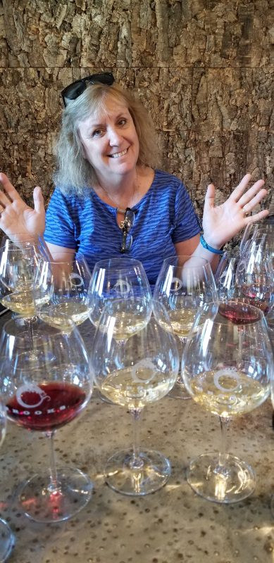 The author tasting wines