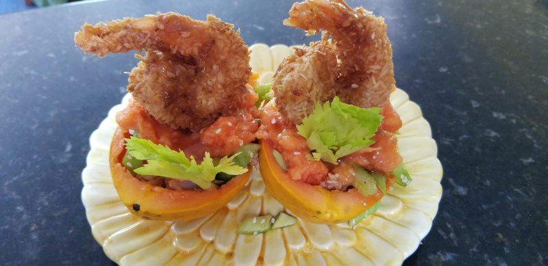 Coconut shrimp in Papaya and Celery salad