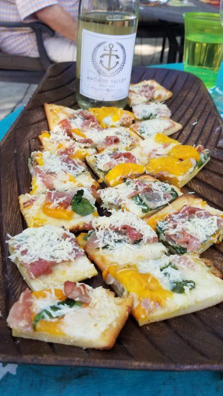 Prosciutto, Tomato and Spanish Spinach mini pizzas