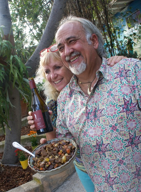 Robin Dohrn-Simpson and Marc Simpson with Moroccan Beef Stew And Scheid Petite Sirah