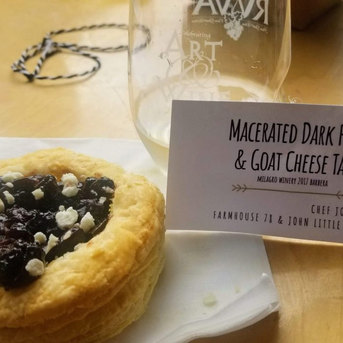 Farmhouse 78 pairs a macerated dark fruit and goat cheese tart with Milagro wines